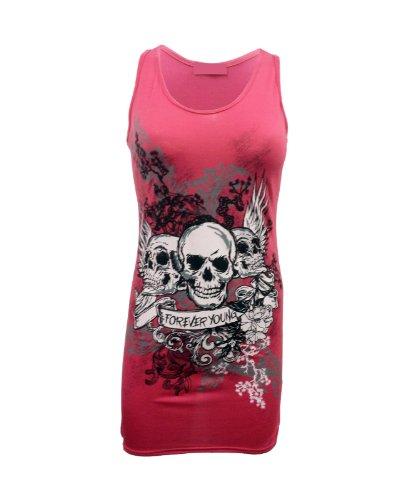 Damen 'Forever Young' Totenschädel Motiv Top T-Shirt Rot Kz7MYVq