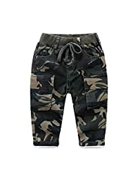 Baletongnian Boys' Pull On Jean Camouflage Pants Fall Relaxed Drawstring Trousers