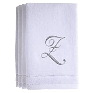 Monogrammed Towels Fingertip, Personalized Gift, 11 x 18 Inches - Set of 4- Silver Embroidered Towel - Extra Absorbent 100% Cotton- Soft Velour Finish - For Bathroom/ Kitchen/ Spa- Initial Z (White)