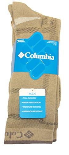 Columbia Men's Crew Light-Weight Socks, Khaki, M 6-12, 3 Pair