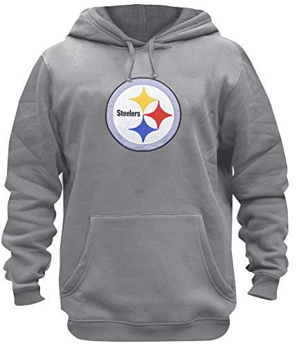 BKD Mens Athletic Steelers Embroidery Cotton Sweatshirt Pullover Hoodie (L)