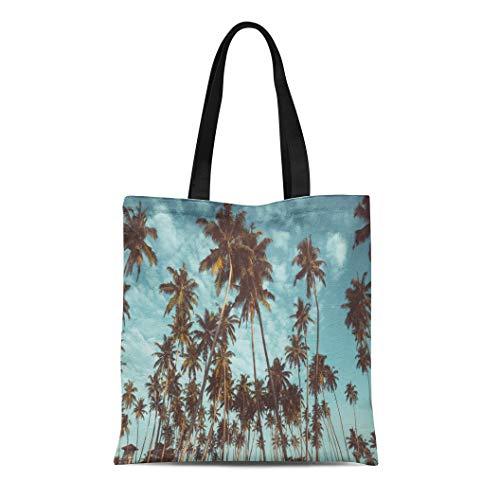 Tinmun Canvas Tote Bag Reusable Coconut Palm Trees on Tropical Beach Vintage Nostalgic Film Shoulder Grocery Shoulder Bag Handbag Printed