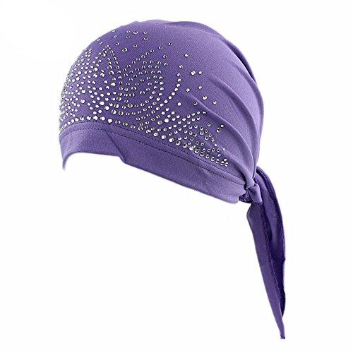 [3 Colors Pack Chemo Cancer Head Scarf Hat Cap Ethnic Cloth Rhinestone Turban Headwear Women's Ruffle Beanie Scarf] (Ethnic Hats)