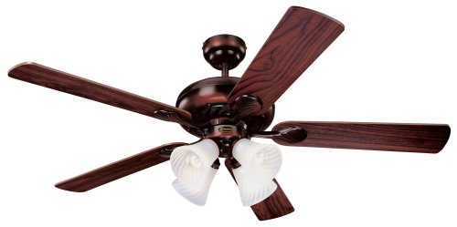 5 Blade Swirl Ceiling Fan (Westinghouse 78568 Swirl Four-Light 52-Inch Five Blade Ceiling Fan, Rustic Bronze with Frosted Swirl Shades)