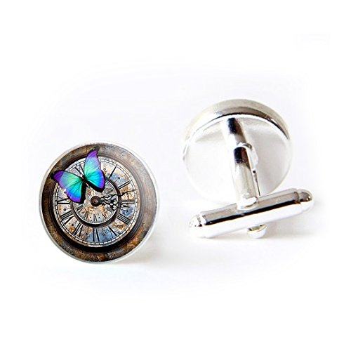 LEO BON Mens Classy Cufflinks Blue Butterfly Vintage Steampunk Deluxe Wedding Business Cuff Links Movement Shirts Studs Button from LEO BON
