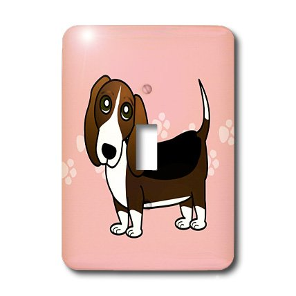 3dRose LLC lsp_35536_1 - Caseta de perro, diseño de dibujos animados, color rosa con huellas