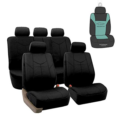FH Group PU009115 Rome PU Leather Full Set Car Seat Covers, Airbag Compatible and Split Bench w. Gift, Solid Black- Fit Most Car, Truck, SUV, or Van (Spurs Car Seat Covers)
