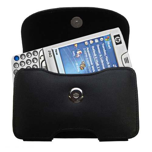 Belt Mounted Leather Case Custom Designed for the HP iPAQ hw6510 hw6515 6515a - Black Color with Removable Clip by Gomadic