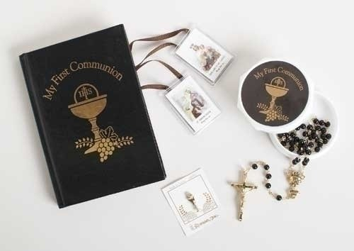 (First Holy Communion Boy Missal, Rosary, Box and Lapel Pin 4 Piece Boxed Gift Set)