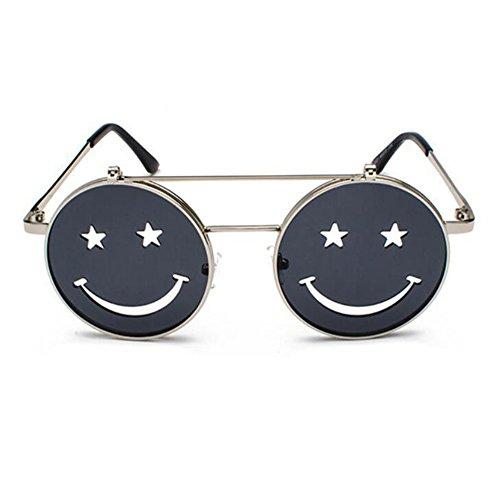 punk y Hippie Retro mujeres Vintage marco Gris Plateado Smiley no de Style sol gafas hombres Flip UV400 polarizadas redondo InrEqXfxE