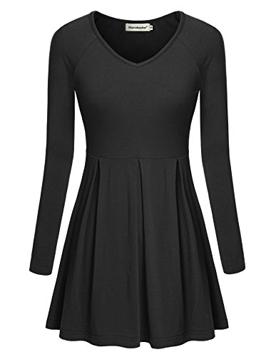 Nandashe Womens Dresses, Scoop Neck Long Sleeve Plus Size Clothing Tops Black XL
