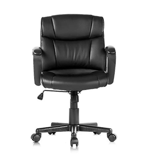 Kerms Mid Back Office Chair PU Leather Executive Desk Chair with Padded Armrests,Adjustable Ergonomic Swivel Task Chair with Lumbar Support(Black)