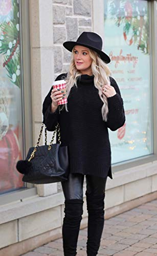 Asvivid Oversized Sweaters Turtleneck Chunky Knit Sweater Winter Warm Soft Pullover Sweater Ladies Sweater Tops Plus Size XL Black
