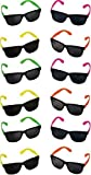 Rhode Island Novelty Neon 80's Style Party Sunglasses with Dark Lens (30 Pack)