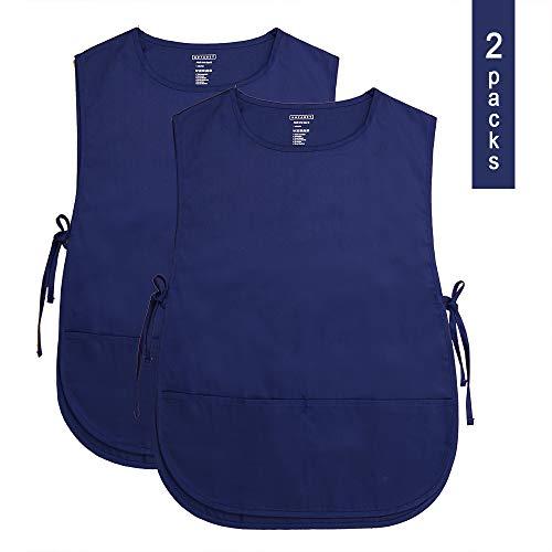 ROTANET Unisex Cobbler Apron - Adjustable Ties/2 Pockets(Navy Blue, 2 Pack)