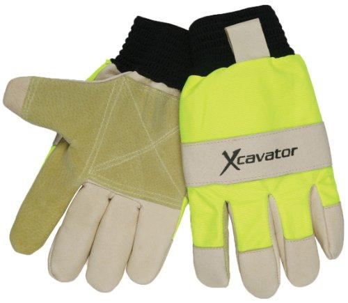 (MCR Safety 940HVS X-Cavator Double Grain Pigskin Leather Palm Mining Men's Gloves with 2-Inch Black Ribbed Elastic Knit, Beige/Black,)