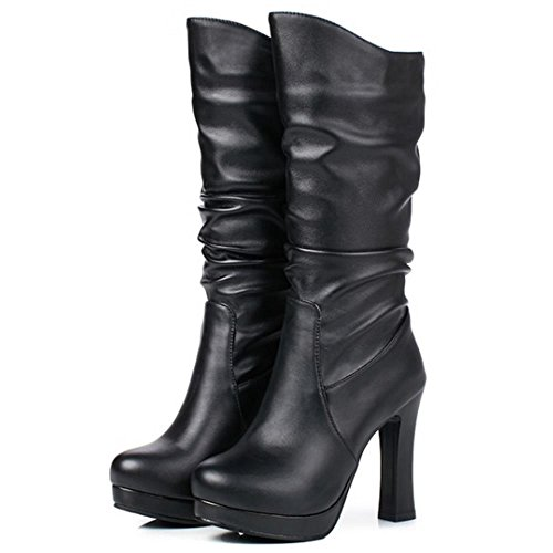 Women Calf Mid Pull Black Autumn Winter KemeKiss Boots On Fashion dqvTwxadf1