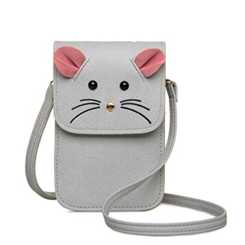 Mouse Purse (YaJaMa Women Crossbody Bag Purse Leather Girls Small Shoulder Bag (Gray)