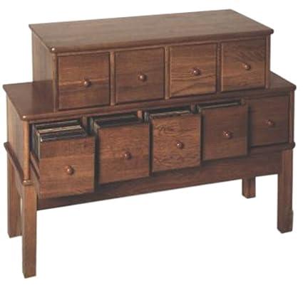 Superbe Leslie Dame CD 225 Solid Oak Apothecary Style Multimedia Storage Cabinet,  Oak