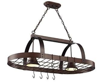Oil Rubbed Bronze 2 Light Pot Rack for Kitchen Island ...