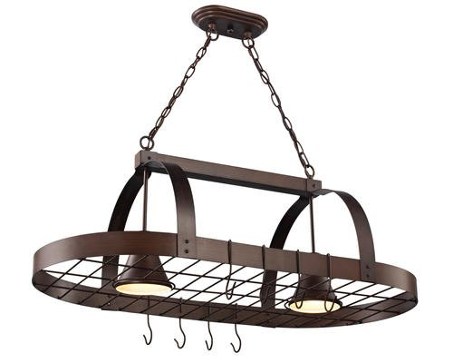Oil Rubbed Bronze 2 Light Pot Rack for Kitchen Island
