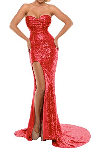 BEAUTBRIDE Women's Sexy Strapless Mermaid Evening Dress with Slit 2019 New Red B -