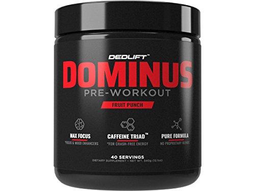 Pre Workout Supplement - DEDLift Dominus Preworkout Powder For Crash-Free Energy & Endurance, Muscle Pumps & Focus, Fruit Punch by DEDLift