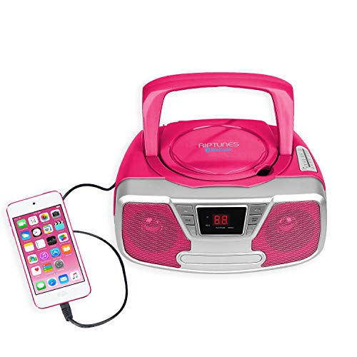 Riptunes CD Player Portable Boombox - Portable Radio AM/FM, Bluetooth Boombox, with Aux-in, Programmable Player, Pink CDB232BT (Pink Bluetooth Cd Player)