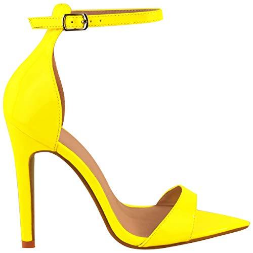 Fashion Neón Amarillo Fiesta Mujer Boda Thirsty Sandalias Toe Charol Peep Tacón Por Verano Afilada Alto Salón Heelberry Punta De rqrFCS