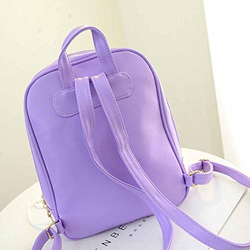 Boys Backpack Elevin New Satchel Shoulder Women Fashion Travel TM Bag Girls Rucksack Leather Purple School wqS4fC