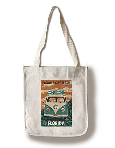 Panama City Beach, Florida - VW Van Letterpress (100% Cotton Tote Bag - - Shopping Beach Panama City