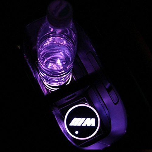 Interior Car Lights Waterproof Bottle Drinks 1PCS Vibration Sensor and Solar USB Charging Mat Luminescent Cup Pad LED Mat Interior Atmosphere Lamp Decoration Light Ralbay Led Cup Holder Coaster