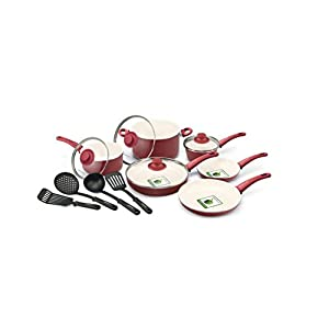 GreenLife Handy Healthy Ceramic Non-Stick 14-Piece Soft Grip Cookware Set (Burgundy)