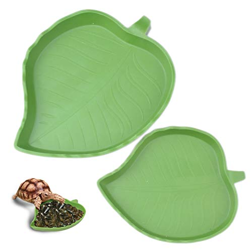 (pranovo 2 Pack Leaf Reptile Food and Water Bowl for Pet Aquarium Ornament Terrarium Dish Plate Lizards Tortoises or Small Reptiles)