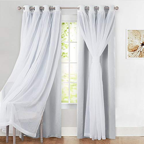 PONY DANCE White Curtains Set Double Layers - Mix & Matce Voile x Blackout Light Block Draperies Panel with Extra Bonus Tie-Backs for Bedroom Windows, 52 x 63 inches, White, 2 Pieces (Curtain Set)
