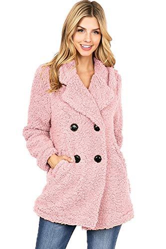 (Haute Monde Women's Juniors Lightweight Teddy Bear Sherpa Coat (M, Dusty Pink))