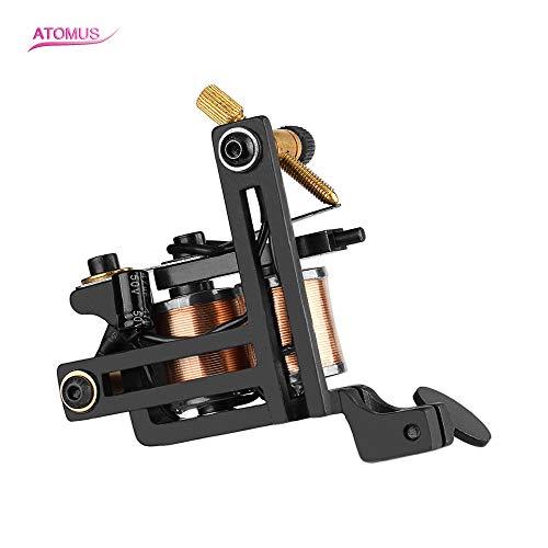 ATOMUS Coil Tattoo Machine 12 Wraps Coil Tattoo Shader Black Iron Frame Handmade Copper Coil Tattoo Gun for Shading (12 Coil Wrap Tattoo Machine)