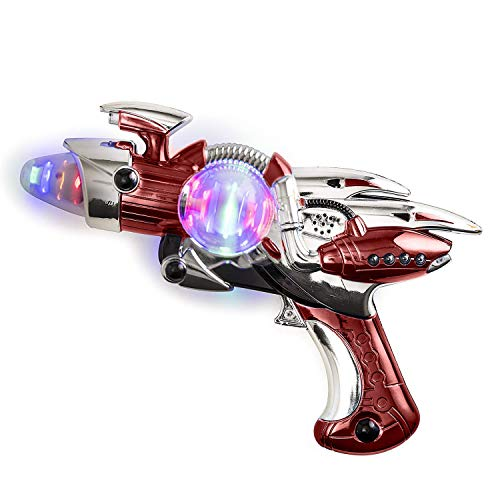 Kicko Light-Up Toy Gun - Red Light Space Gun Blaster Toy - Noise Making - Super Spinning - 11.5 Inch - for Children, Play Time, Pretend, Parties, Halloween, and Gifts -