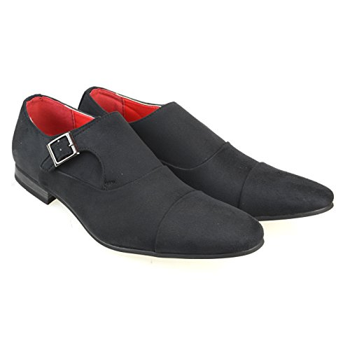 AN Mens Monk Strap Dress Shoes Suede Feel Slip on Cap Toe Side Belt Black 42 EU (US Men's 9-9.5 M)