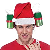 Sikye Chrismas Hat Creative Helment Drinking Cola Beer Holder Hat Party Festival Carnival Cap - Red