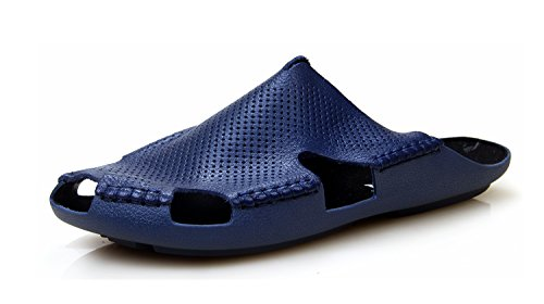 Minishion TQN2016 Mens Casual Comfortable Leather Beach Sandals Shoes Outdoor Summer Slippers Dark Blue