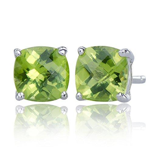 - Stunning Women's Natural Peridot Gemstone 925 Sterling Silver 925 Post Stud Earrings