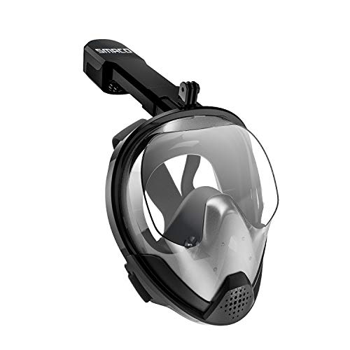 SMACO Full Face Snorkel Mask with UV Protection Anti-Fog Anti-Leak Snorkeling Mask with Detachable Camera Mount 180° Panoramic View Swimming Mask for Adults and Youth.