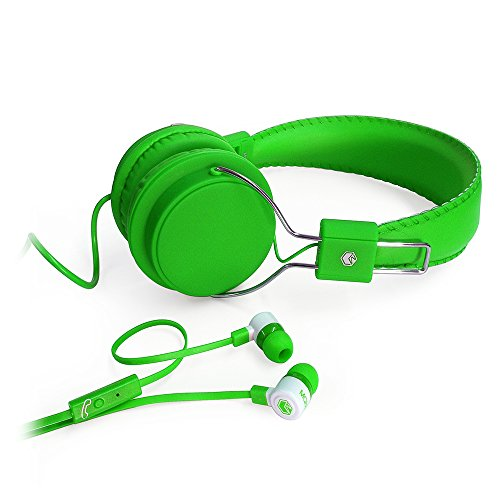 MQbix MQHT470GRN 2-In-1 Combo Pack EarFoam Plus High Performance In-Ear Earphones with Built-In Mic and Deep Bass Stereo Headphones, Green by MQbix