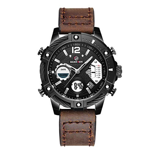 Mens Sport Watch Digital Analog Quartz Waterproof Multifunctional Military Leather Wrist Watches (Deep Brown)