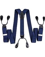 DiBanGu Tirantes de botón para hombre, resistentes, con respaldo en Y, tirantes elásticos ajustables para esmoquin para grandes y altos