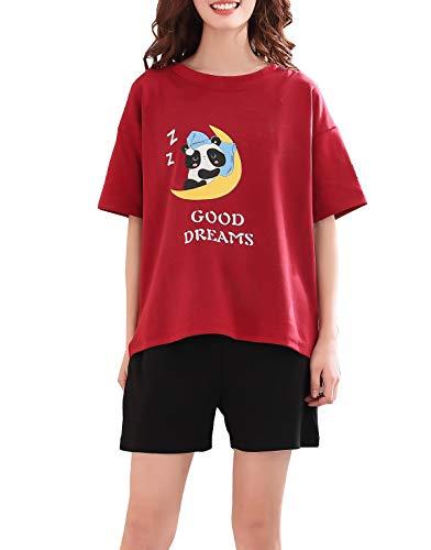 Vopmocld Big Girls' Lovely Cat Sleepy Bear Sleepwear Cute Cartoon 2PCS Pajama Sets, Panda-Red, XX-Large / 16-17 Years