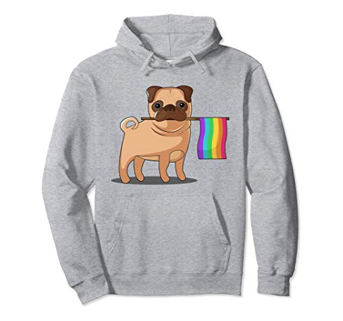 Unisex Gay Pride Flag Pug Hoodie - Dog LGBT Pride Hoody Sweatshirt Small Heather Grey