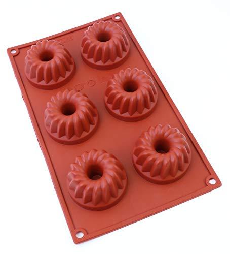 Oggibox 6 - Cavity Silicone Fancy Bundt Cake, Muffin, Cupcake, Brownie and Cornbread Mold -
