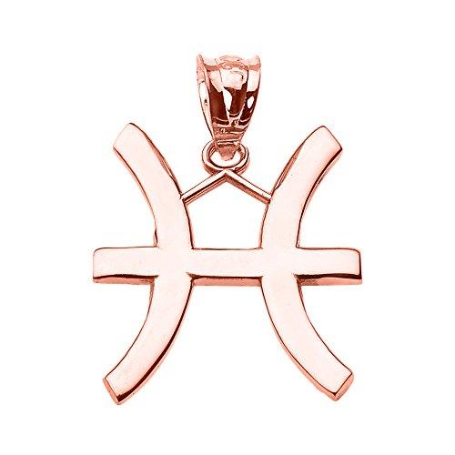Joyara - Collier Pendentif 10 ct Or Rose Poissons Mars Zodiac